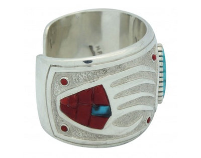 Load image into Gallery viewer, Michael Perry, Bracelet, Kingman Turquoise, Coral, Bear Claw, Navajo Made, 6 in