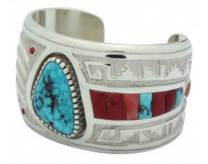 Michael Perry, Bracelet, Kingman Turquoise, Coral, Bear Claw, Navajo Made, 6 in