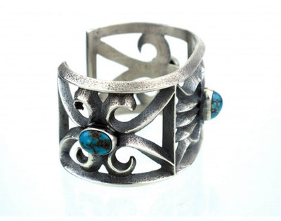 "Load image into Gallery viewer, Aaron Anderson, Cast Silver, Persian Turquoise ""Three in One"" Bracelet"