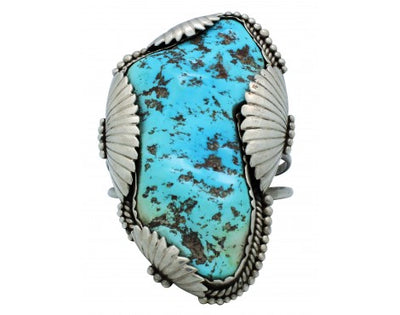 Load image into Gallery viewer, Zuni Bracelet, Handmade, Kingman Turquoise Nugget, Silver, Circa 1970s, 7 in