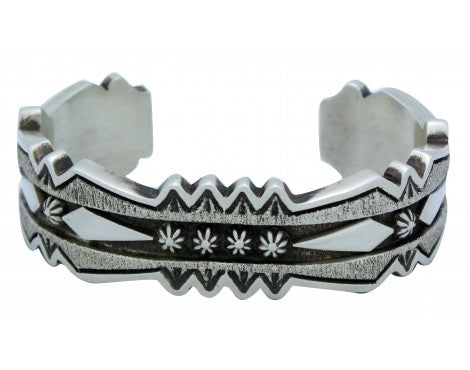 Thomas Jim, Bracelet, Stamping, Applique, Sterling Silver, Navajo Handmade, 7 in