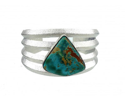 Load image into Gallery viewer, Darryl Dean Begay, Pilot Mountain Turquoise, Tufa Art Sterling Cuff