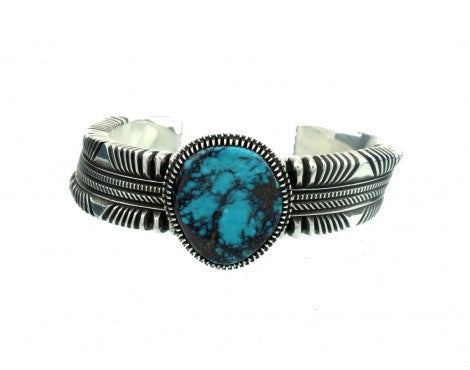 Ron Bedonie, Bisbee Turquoise Gem on Stamped Sterling Cuff, Navajo