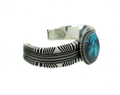 Load image into Gallery viewer, Ron Bedonie, Bisbee Turquoise Gem on Stamped Sterling Cuff, Navajo