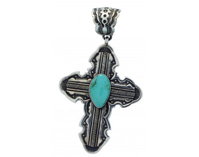 Load image into Gallery viewer, Terry Martinez, Pendant, Cross, Royston Turquoise, Silver, Navajo Handmade, 3.9