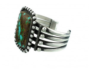Edison Sandy Smith, Silver and Turquoise Large Cuff