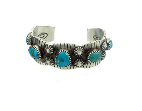 Arland Ben, Silver Carico Lake Turquoise Cuff