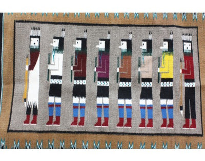 Load image into Gallery viewer, Anna Grey, Yei Rug, Navajo Handwoven, 36 in x 48 in