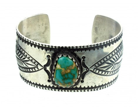 Arland Ben, Revival, Royston Turquoise, Stamped Sterling Cuff, Navajo