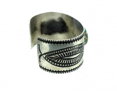Load image into Gallery viewer, Arland Ben, Revival, Royston Turquoise, Stamped Sterling Cuff, Navajo