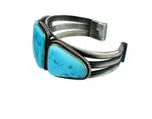 Edison Sandy Smith, Silver with Candelaria Turquoise Cuff