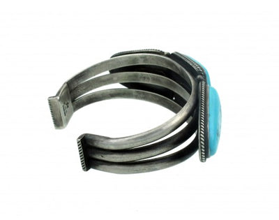 Load image into Gallery viewer, Edison Sandy Smith, Silver with Candelaria Turquoise Cuff