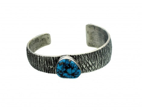 Aaron Anderson, Morenci Turquoise, Tufa Cast Sterling Cuff, Navajo 6