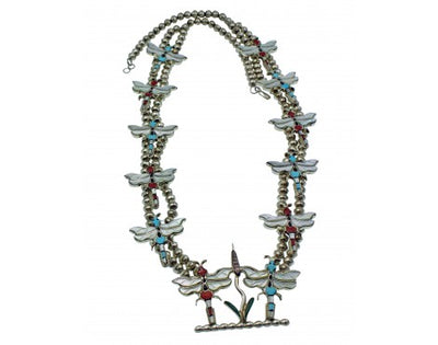 Load image into Gallery viewer, T Pinto, Andrea Lonjose, Dragonfly Necklace, Multistone, Silver, Zuni Made, 28''