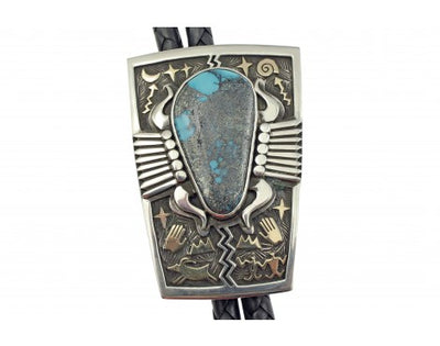 Load image into Gallery viewer, Arland Ben, Bolo, Ithaca Peak Turquoise, Sterling Silver, 14k Gold, Navajo, 47''