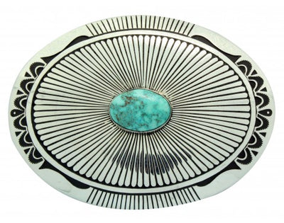 Load image into Gallery viewer, Charlie John, Buckle, Turquoise Mountain, Sterling Silver, Navajo Made