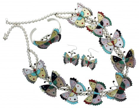 Tamara Pinto, Necklace, Earring, Bracelet Set, Butterfly, Zuni Handmade, 27 in