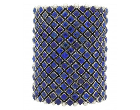 Alice Lister, Diamond Cluster Cuff, Lapis, Sterling Silver, Navajo Handmade, 6.75
