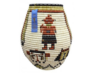 "Rhetta Lou Adams, Hopi Coil Basket, Kachina Faces, 23"" x 18 1/2"""