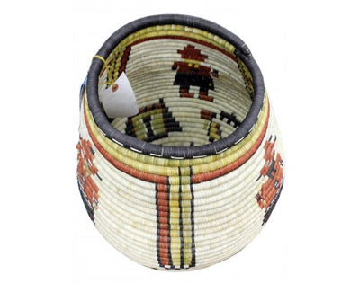 "Load image into Gallery viewer, Rhetta Lou Adams, Hopi Coil Basket, Kachina Faces, 23"" x 18 1/2"""