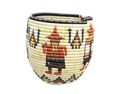 "Load image into Gallery viewer, Rhetta Lou Adams, Hopi Coil Basket, Mud Head, Mother Crow, 16"" x 15"""