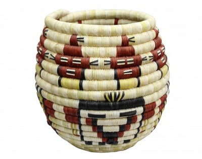 "Load image into Gallery viewer, Rhetta Lou Adams, Hopi Coil Basket, Mud Heads, 8 1/2"" x 9"""