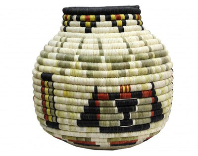 "Load image into Gallery viewer, Irene Lomayaktewa (interview), Hopi Coil Basket, Kachinas, Bullheads, 9 1/2"" x 11"""
