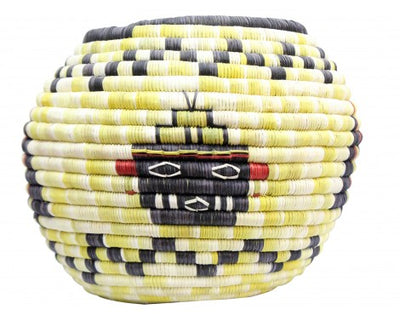 "Load image into Gallery viewer, Irene Lomayaktewa (interview), Hopi Coil Basket, Kachine, Crow heads, 7 1/2"" x 10"""