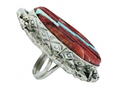 Load image into Gallery viewer, Clinton Pete, Ring, Inlay, Turquoise, Red Spiny Oyster, Navajo Handmade, 6.75