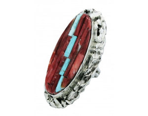 Clinton Pete, Ring, Inlay, Turquoise, Red Spiny Oyster, Navajo Handmade, 6.75