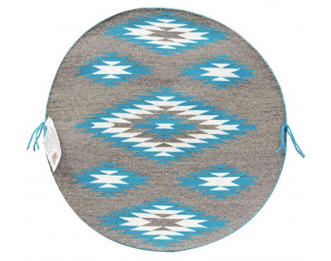 Rose Gorman, Circular Eye Dazzler Rug, Navajo Handwoven, 22 in dia