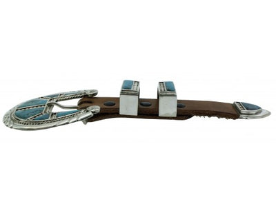 Load image into Gallery viewer, Robert, Bernice Leekya, Ranger Buckle, Kingman Turquoise, Zuni Hanmade, 7 3/4''