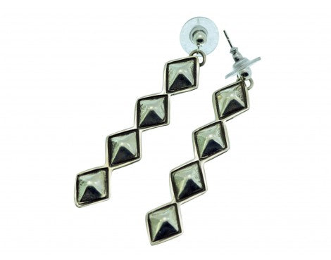 Alex Sanchez, Pierced Earrings, Silver Diamond Design, Navajo Made, 2.5in