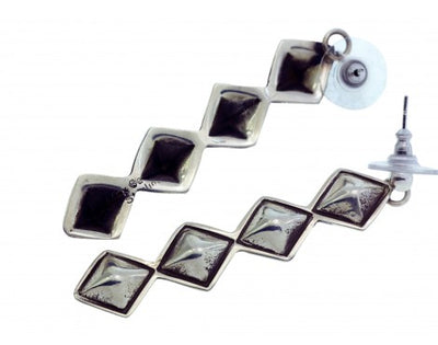 Load image into Gallery viewer, Alex Sanchez, Pierced Earrings, Silver Diamond Design, Navajo Made, 2.5in