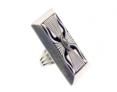 Load image into Gallery viewer, Calvin Martinez, Ring, Large Contemporary Design, Navajo Handmade, 8 1/2