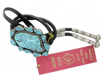 Load image into Gallery viewer, Delbert Gordon, Bolo, Kingman Turquoise, Sterling Silver, Leather, Navajo, 49 in