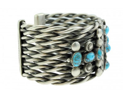 Load image into Gallery viewer, Calvin Martinez, Bracelet, Fred Peshlakai Revival, Persian Turquoise, Navajo,6.5