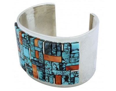 Load image into Gallery viewer, Edward Becenti, Bracelet, Wide, Turquoise, Spiny Oyster Shell, Navajo Made, 7.25