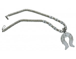 Thomas Jim, Necklace, Beads, Cutouts, Sterling Silver, Navajo Handmade, 22 in