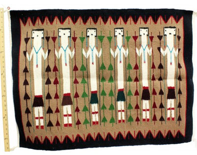 "Load image into Gallery viewer, Mary Kee, Yei Rug, Navajo Handwoven, 42"" x 28 1/2"""