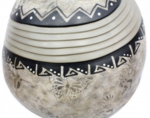 Fragra, Felicia, Butterfly Stamped, Hand Coiled Pottery, Navajo, 19 1/2'' x 17''