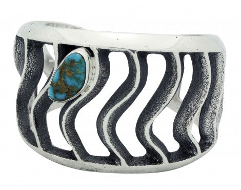Monty Claw, Tufa Cast Bracelet, Royston Turquoise, Waves, Navajo Handmade, 6.5in