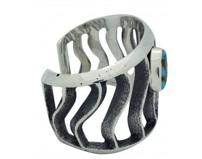 Load image into Gallery viewer, Monty Claw, Tufa Cast Bracelet, Royston Turquoise, Waves, Navajo Handmade, 6.5in