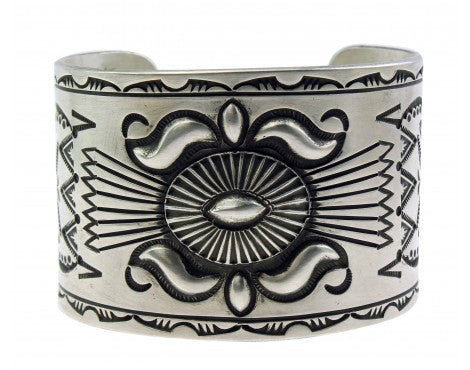 Edison Sandy Smith, Bracelet, Wide, Stamping, Sterling Silver, Navajo Made, 7''