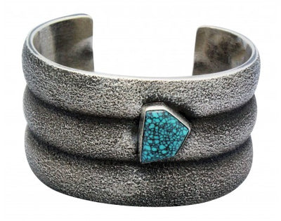 Load image into Gallery viewer, Aaron Anderson, Bracelet, Tufa Cast, Spider Web Turquoise, Navajo Made, 6.25 in