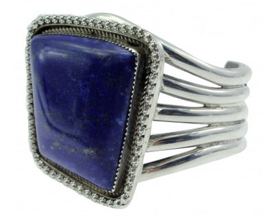 Load image into Gallery viewer, Ray Nez, Bracelet, Blue Lapis, Heavy, Sterling Silver, Navajo Handmade, 6 1/2''