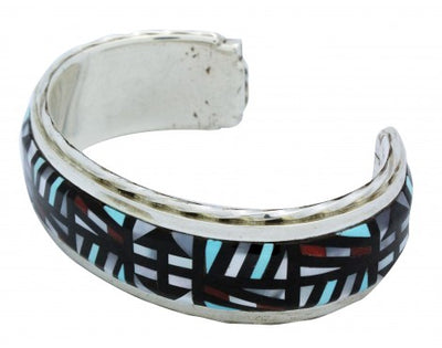 Load image into Gallery viewer, Jonathan Othole, Bracelet, Mosaic Inlay, Narrow, Silver, Zuni Handmade, 6.5 in