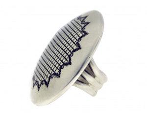 Matthew Charley, Ring, Sterling Silver, Star Stamp Design, Navajo, 6 1/2
