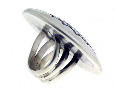 Load image into Gallery viewer, Matthew Charley, Ring, Sterling Silver, Star Stamp Design, Navajo, 6 1/2