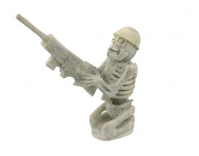 Load image into Gallery viewer, Zuni Skeleton with Gun Carving in Deer Antler, Signed(EN)